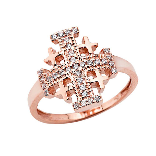 CZ Jerusalem Cross Ring in Rose Gold