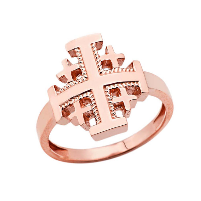 Jerusalem Cross Ring in Rose Gold