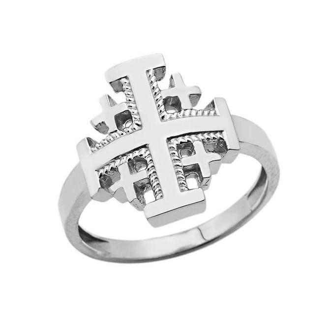Jerusalem Cross Ring in White Gold