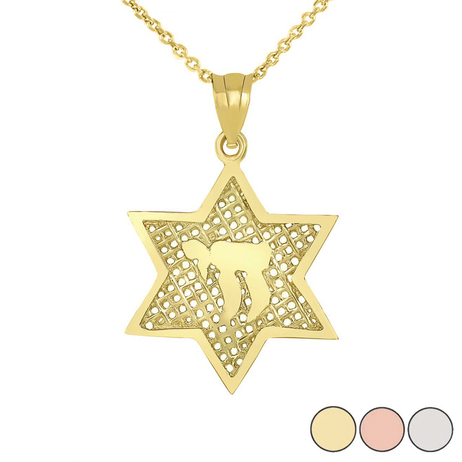 Star of David with Chai Pendant Necklace in Gold (Yellow/Rose/White)