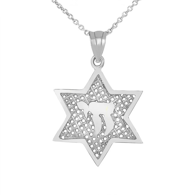 Star of David with Chai Pendant Necklace in White Gold