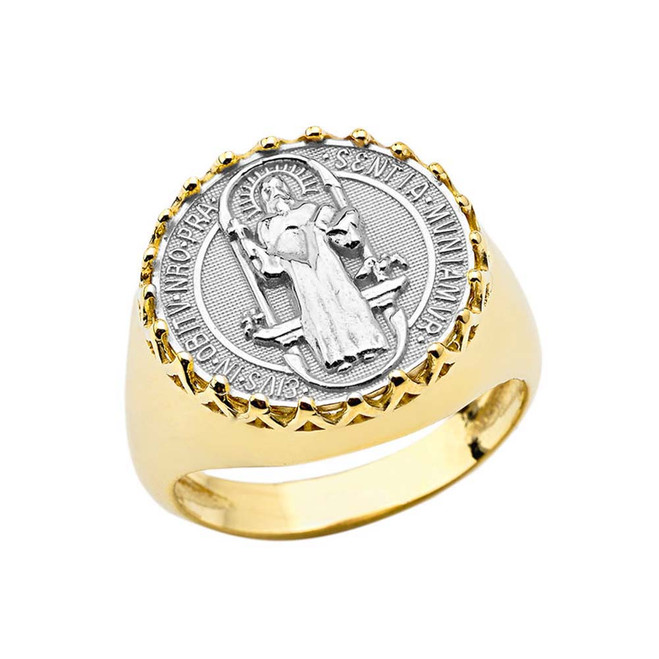 Men's Saint Benedict Ring in Yellow and White Gold
