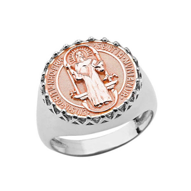 Men's Saint Benedict Ring in White and Rose Gold
