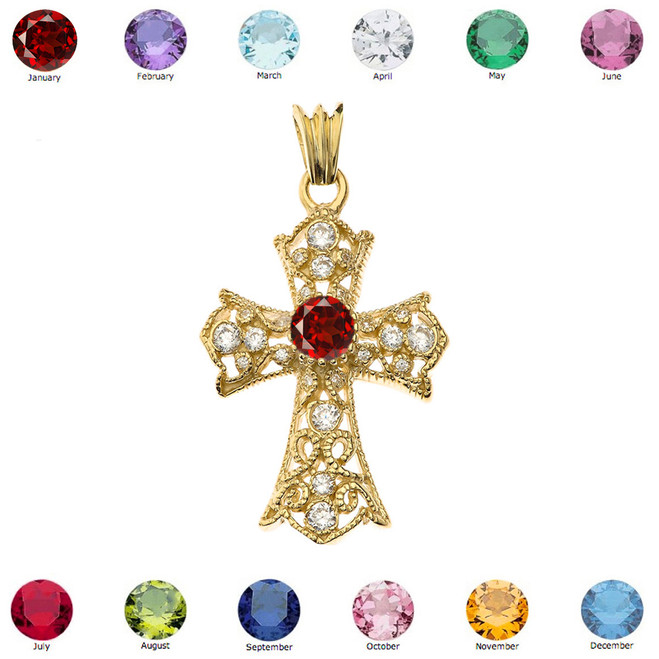 Personalized Birthstone  Filigree Cross Pendant Necklace in Yellow Gold