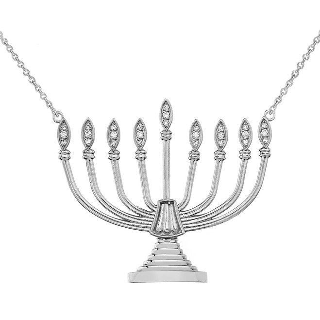 Diamond Hanukkah Menorah Necklace in 14K White Gold