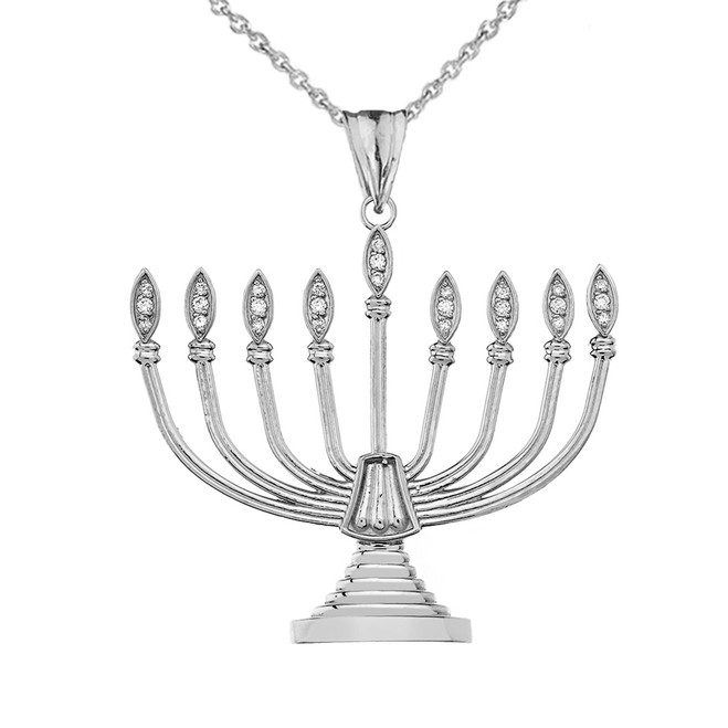 Diamond Hanukkah Menorah Pendant Necklace Sterling Silver
