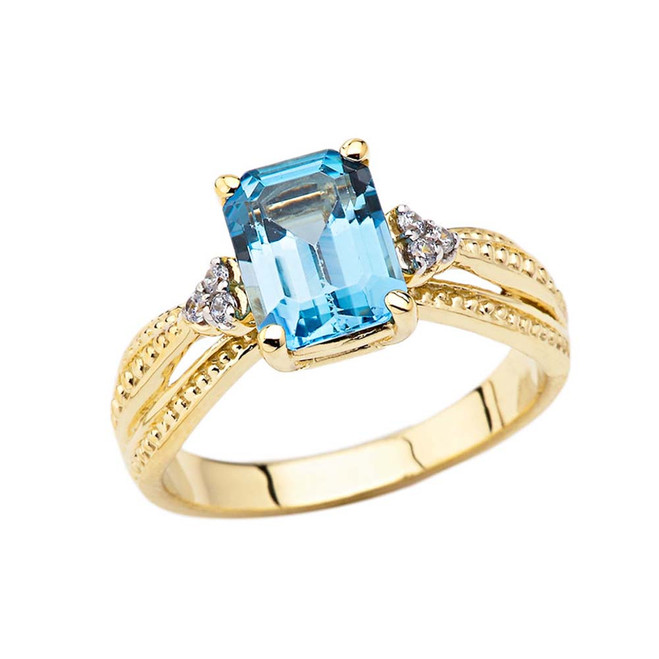 Diamond and Blue Topaz Emerald Cut Engagement Ring In Yellow Gold