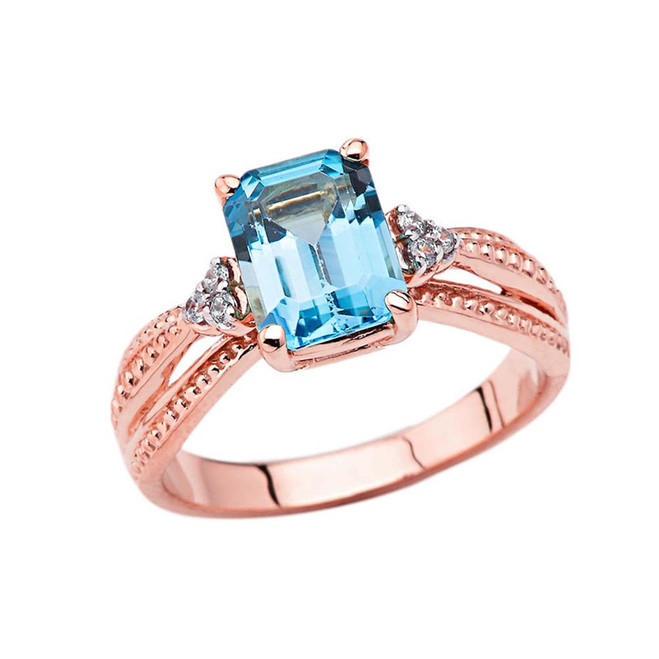 Diamond and Blue Topaz Emerald Cut Engagement Ring In Rose Gold