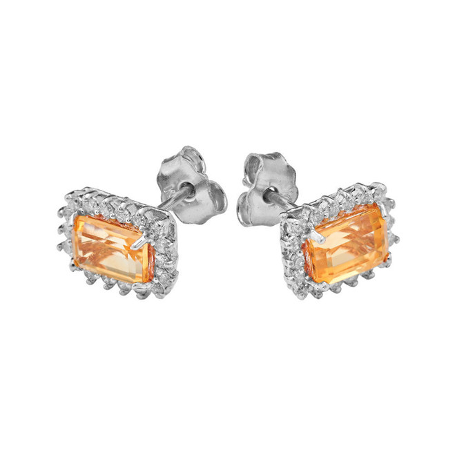 White Gold Emerald Cut Citrine and Diamond Halo Earrings