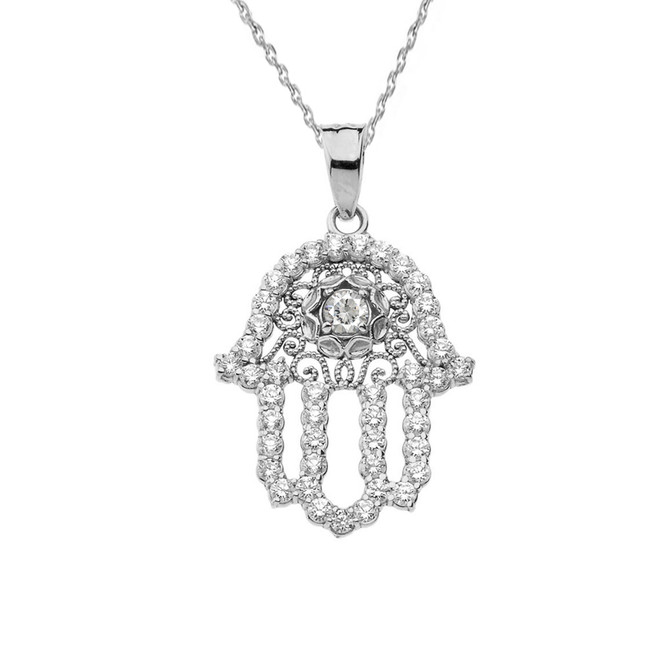 Chic CZ Hamsa Pendant Necklace in Sterling Silver