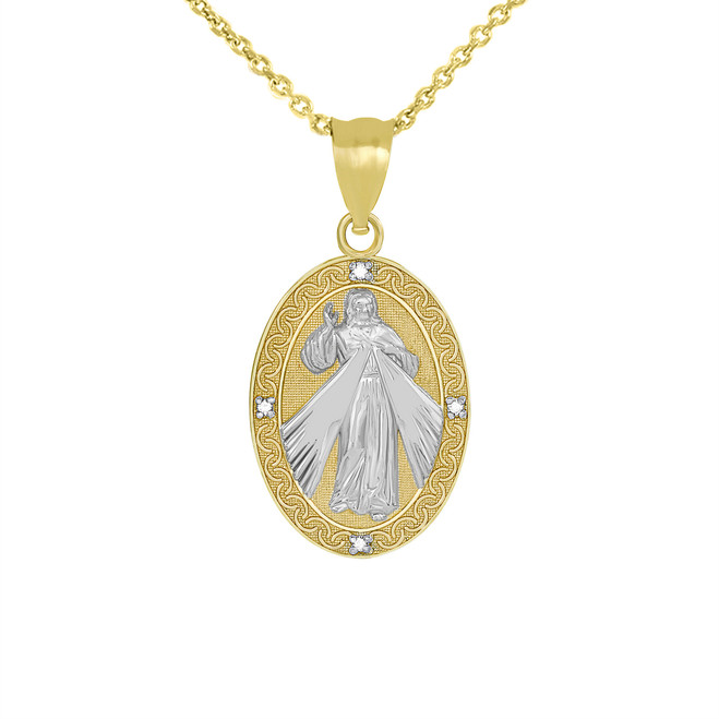 Divine Mercy Oval Medallion with Diamonds Pendant Necklace in Two Tone Yellow Gold