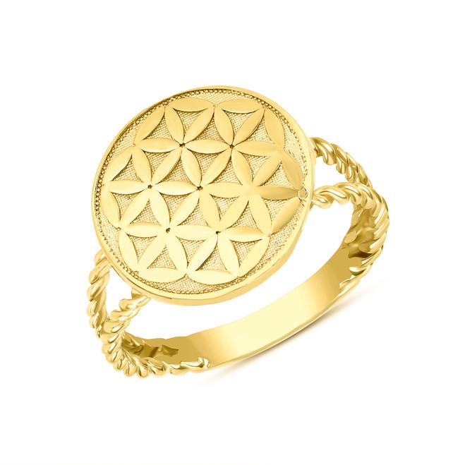 Split Shank Flower of Life Design Disc Rope Ring in Yellow Gold