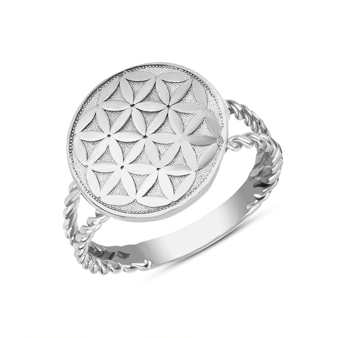 Split Shank Flower of Life Design Disc Rope Ring in .925 Sterling Silver