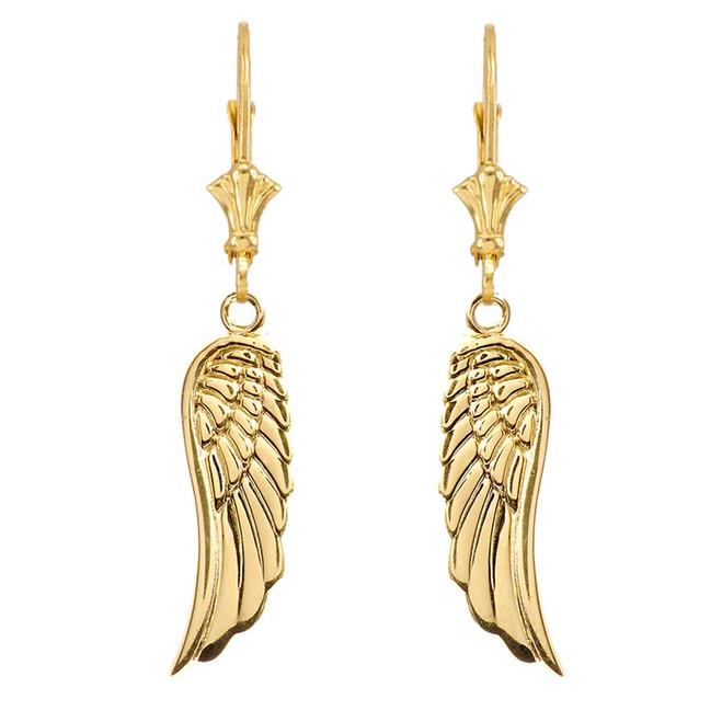 Yellow Gold Angel Wings Leverback Earrings