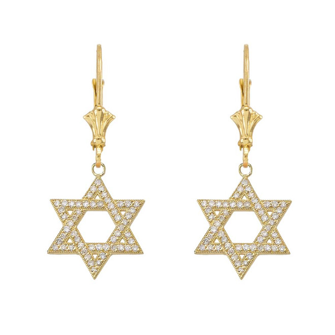 Yellow Gold Diamond Jewish Star Of David  Earrings