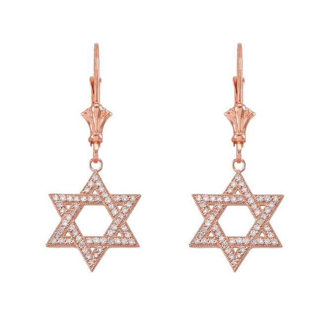14K Rose Gold Diamond Jewish Star Of David  Earrings