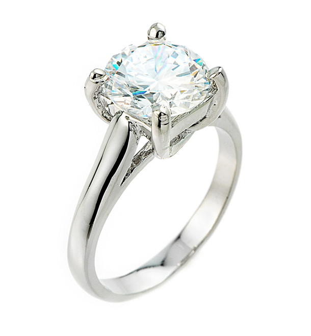 Solitaire 5ct (9.5 mm) Birthstone CZ Engagement +/Promise Ring In White Gold