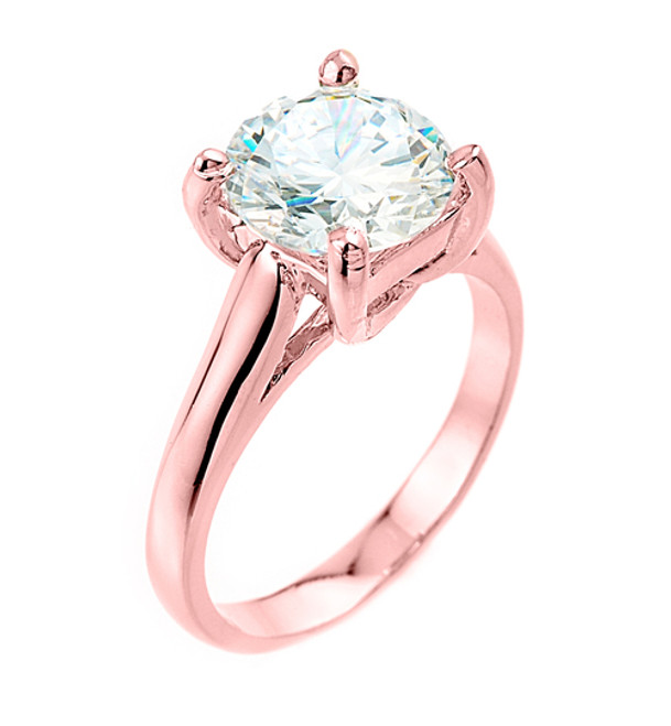 Solitaire 5ct (9.5 mm) Birthstone CZ Engagement +/Promise Ring In Rose Gold