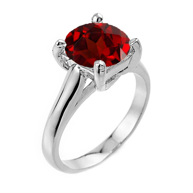 Solitaire 5ct (9.5 mm) Garnet Birthstone  Engagement +/Promise Ring In White  Gold