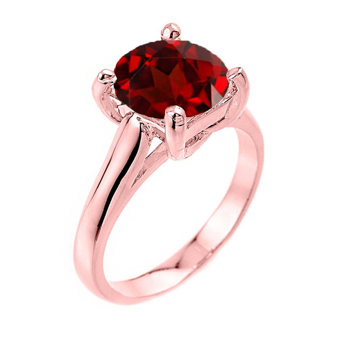 Solitaire 5ct (9.5 mm) Garnet Birthstone  Engagement +/Promise Ring In Rose  Gold