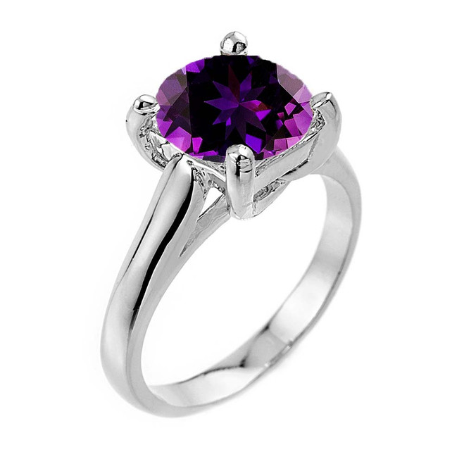 Solitaire 5ct (9.5 mm) Amethyst Birthstone  Engagement +/Promise Ring In White  Gold
