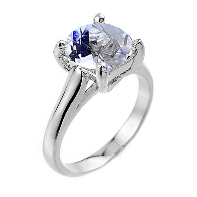 Solitaire  5ct (9.5 mm) Aquamarine  Birthstone  Engagement +/Promise Ring In White Gold