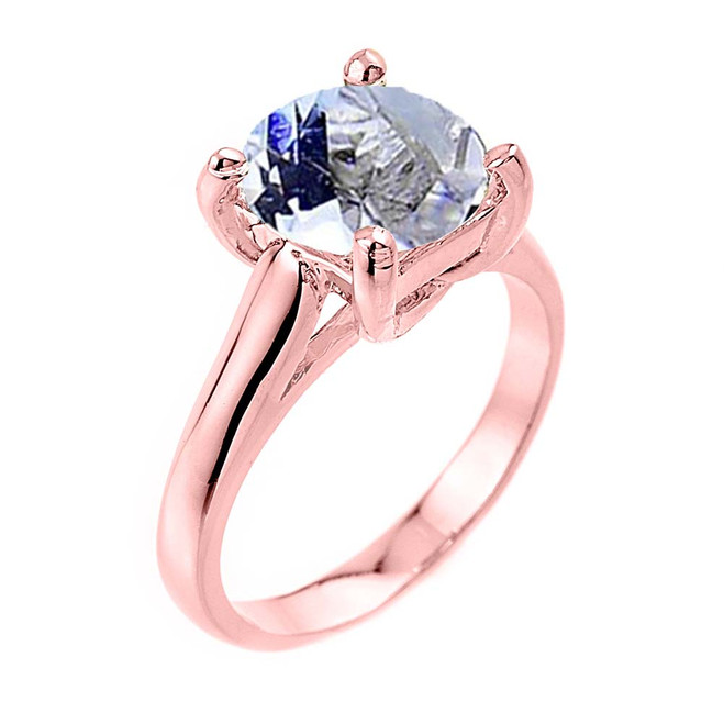Solitaire  5ct (9.5 mm) Aquamarine  Birthstone  Engagement +/Promise Ring Rose Gold