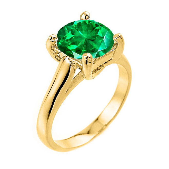 Solitaire  5ct (9.5 mm) Emerald  Birthstone  Engagement +/Promise Ring In Yellow Gold