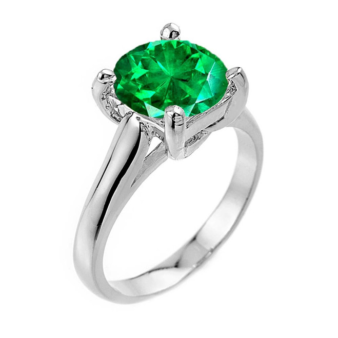 Solitaire  5ct (9.5 mm) Emerald  Birthstone  Engagement +/Promise Ring In White Gold