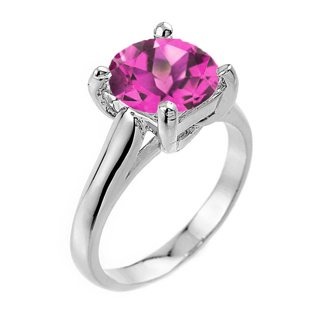 Solitaire  5ct (9.5 mm) Alexandrite  Birthstone  Engagement +/Promise Ring In White Gold