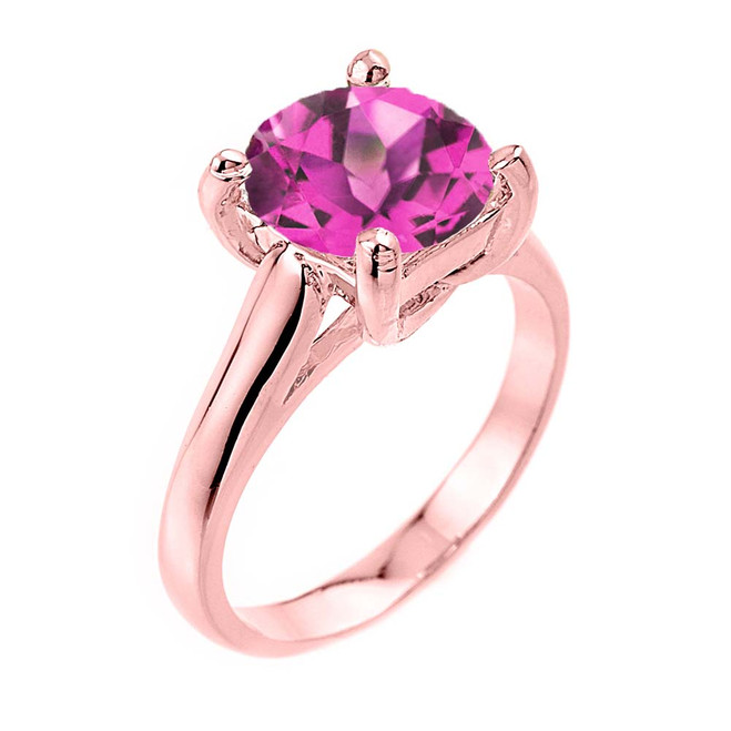 Solitaire  5ct (9.5 mm) Alexandrite  Birthstone  Engagement +/Promise Ring In Rose Gold