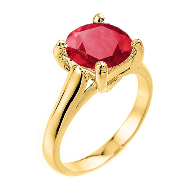 Solitaire  5ct (9.5 mm) Ruby  Birthstone  Engagement +/Promise Ring In Yellow Gold