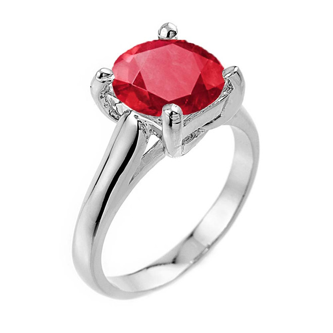 Solitaire  5ct (9.5 mm) Ruby  Birthstone  Engagement +/Promise Ring In White Gold