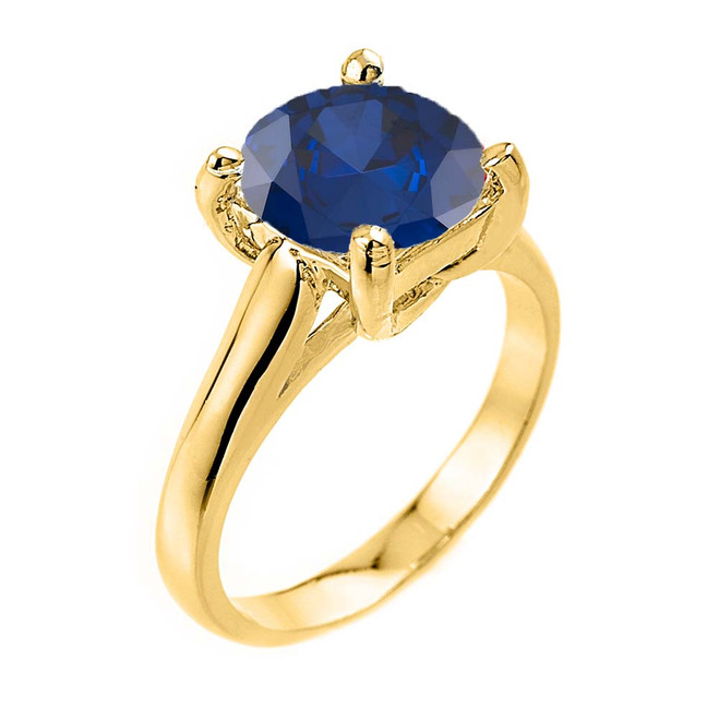 Solitaire  5ct (9.5 mm) Sapphire Birthstone  Engagement +/Promise Ring In Yellow Gold