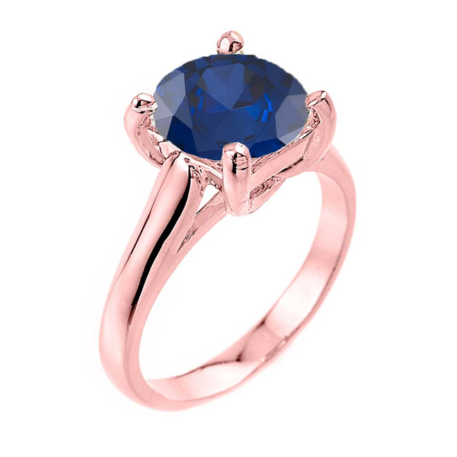Solitaire  5ct (9.5 mm) Sapphire Birthstone  Engagement +/Promise Ring In Rose Gold