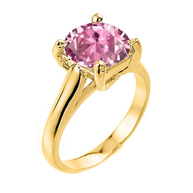 Solitaire  5ct (9.5 mm) Pink CZ Birthstone  Engagement +/Promise Ring In Yellow Gold