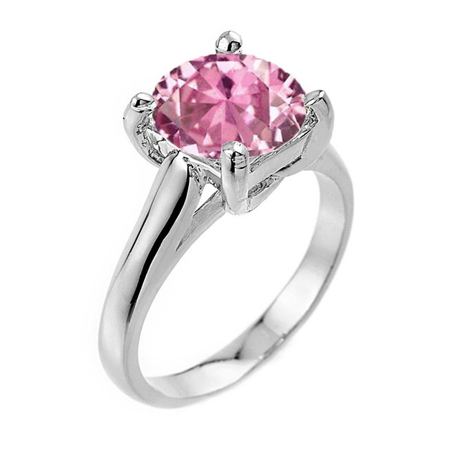 Solitaire  5ct (9.5 mm) Pink CZ Birthstone  Engagement +/Promise Ring In White Gold