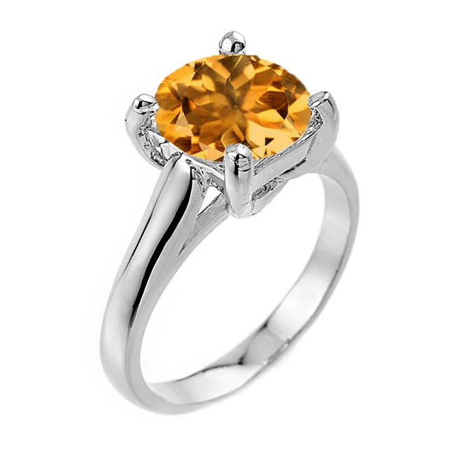 Solitaire  5ct (9.5 mm) Citrine Birthstone  Engagement +/Promise Ring In White Gold