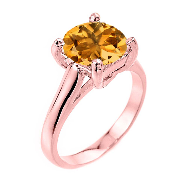 Solitaire  5ct (9.5 mm) Citrine Birthstone  Engagement +/Promise Ring In Rose Gold