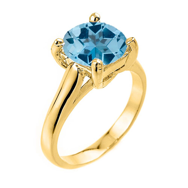 Solitaire  5ct (9.5 mm) Blue Topaz Birthstone  Engagement +/Promise Ring In Yellow Gold