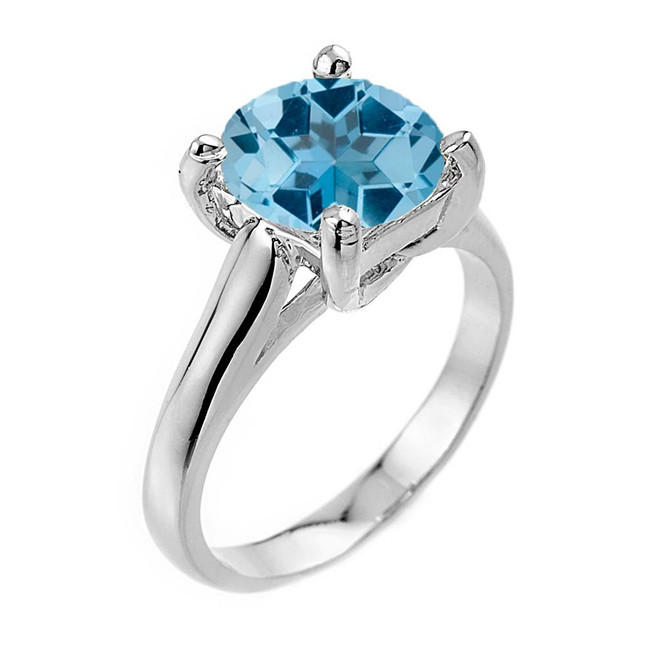 Solitaire  5ct (9.5 mm) Blue Topaz Birthstone  Engagement +/Promise Ring In White Gold