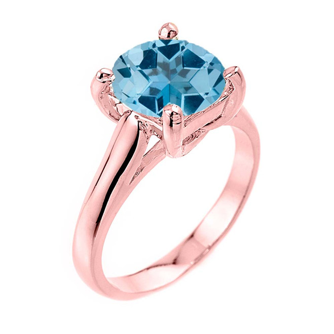 Solitaire  5ct (9.5 mm) Blue Topaz Birthstone  Engagement +/Promise Ring In Rose Gold