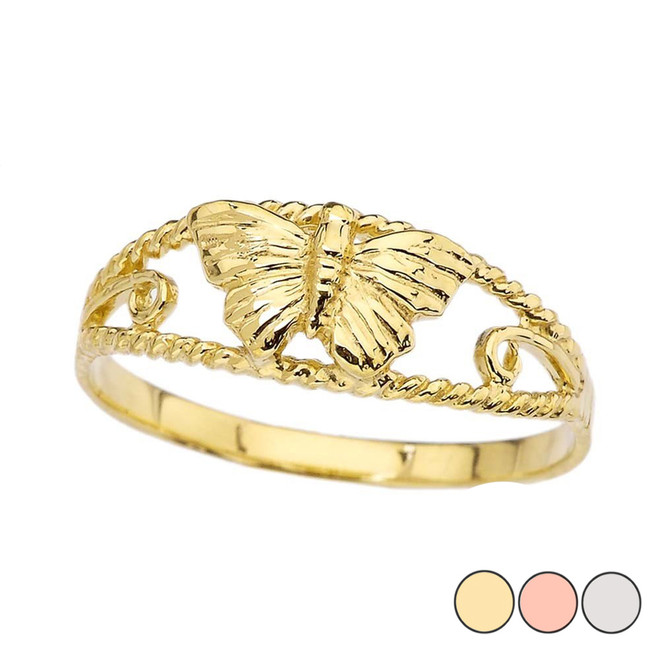 Dainty Butterfly Ring in Gold (Yellow/Rose/White)