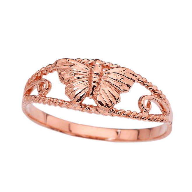Dainty Butterfly Ring in Rose Gold
