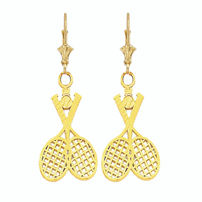 Tennis Racquet & Ball Leverback Earrings in Yellow Gold