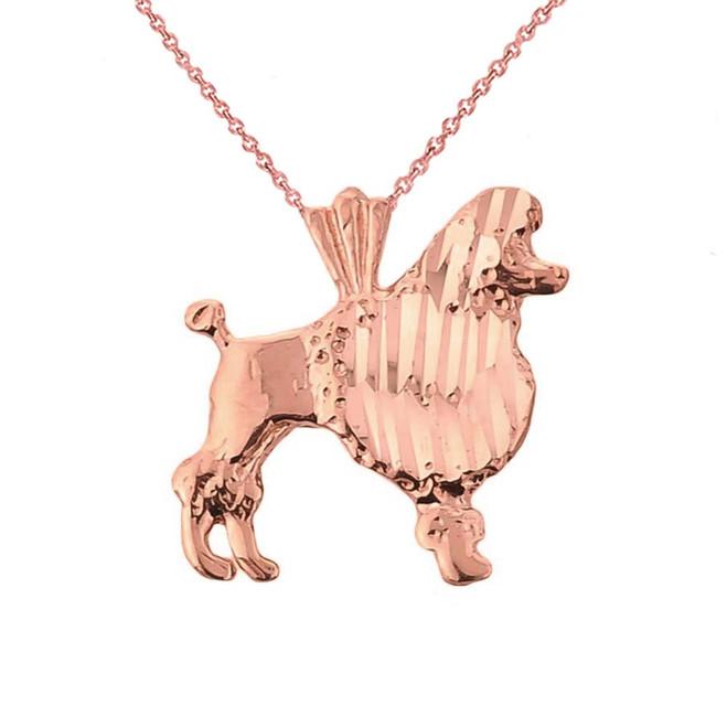 Rose Gold Diamond Cut Poodle Charm Pendant