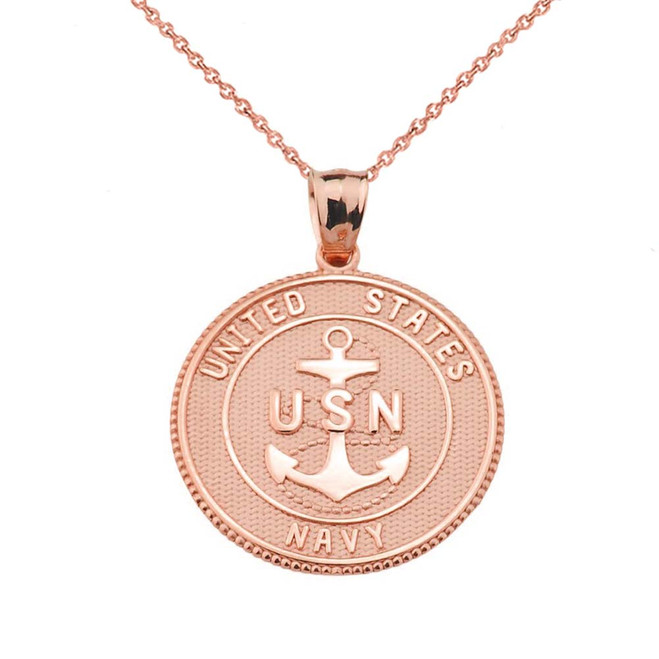 Rose Two Sided U.S. Navy Insignia Coin Pendant