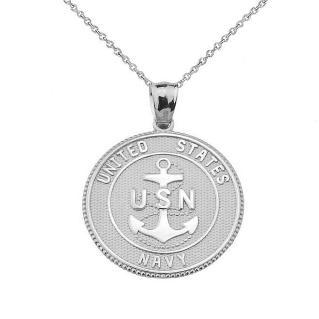 White Two Sided U.S. Navy Insignia Coin Pendant