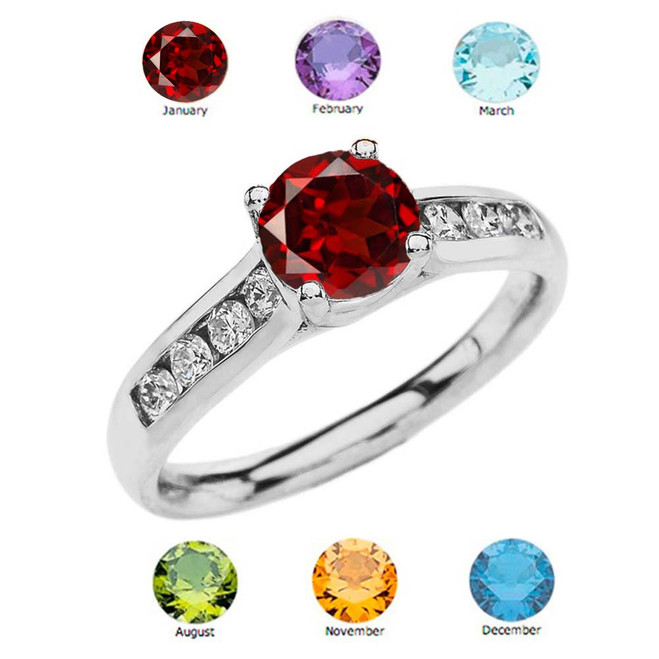 White Gold Personalized Genuine Birthstone Engagement Proposal Ring