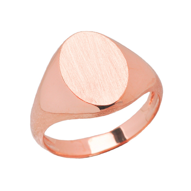 Men's Engravable Oval Signet Ring in Rose Gold